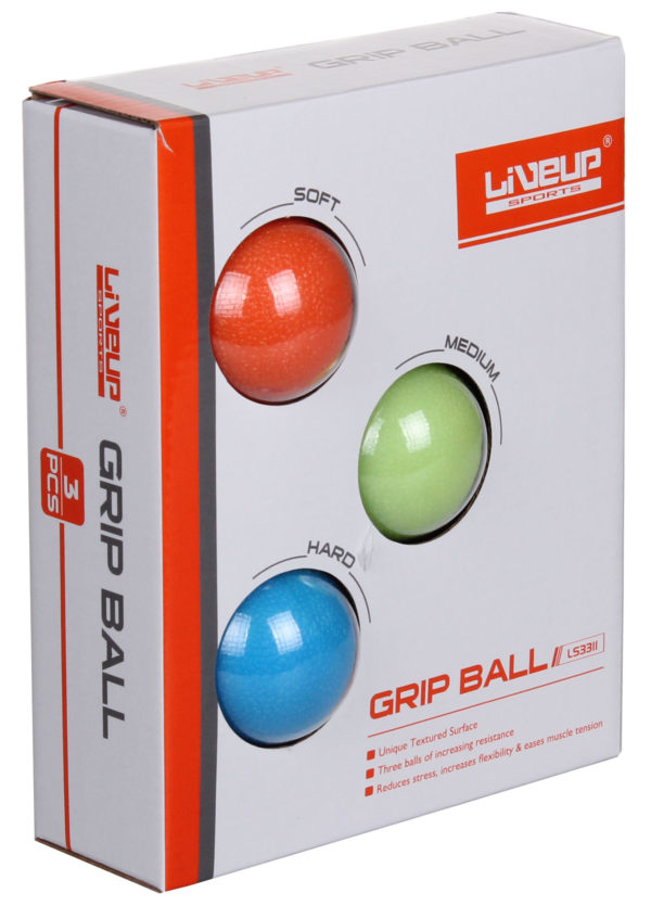 LiveUp Grip Ball posilňovacie loptičky, 3 ks