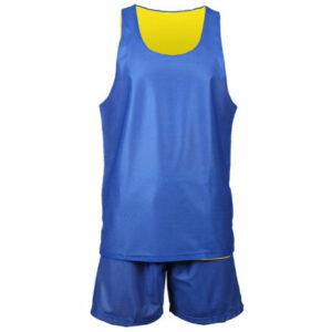 BD-1 basketbalový komplet žltá-modrá veľkosť oblečenia