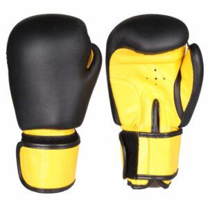 Fighter zápasové boxovacie rukavice čierna-žltá hmotnosť