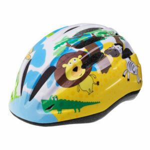 Rebel detská cyklistická prilba žltá-modrá veľkosť oblečenia